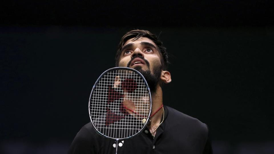 Kidambi Srikanth reacts while competing against Pablo Abian of Spain during their men's badminton singles match at the BWF World Championships in Nanjing, China on August 1, 2018. (AP)
