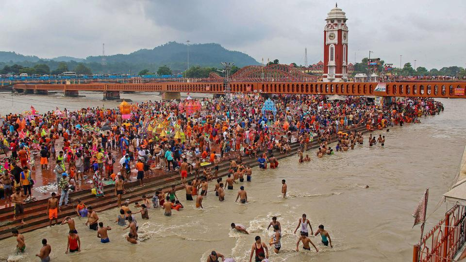 Shiva devotees 'kanwariyas' collect Ganga water during the holy month of Shravan in Haridwar, Uttarakhand on August 2, 2018. (PTI)
