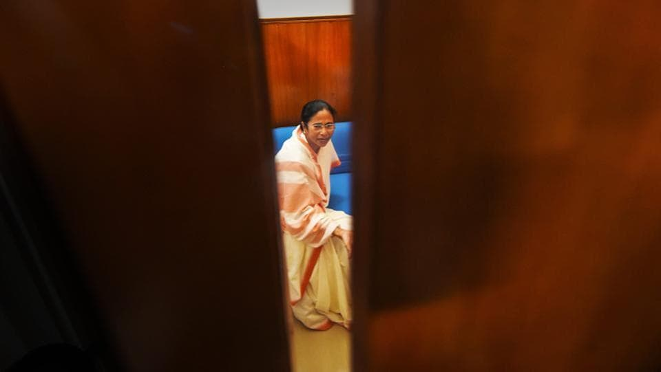 West Bengal Chief Minister Mamata Banerjee at her party office during a meeting with BJP leader Kirti Azad (not seen) at Parliament House, in New Delhi on August 01, 2018. (Shahbaz Khan / PTI)