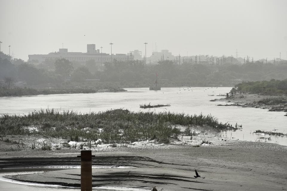 A view of the Yamuna River at Old Iron bridge on Thursday, August 2, 2018.