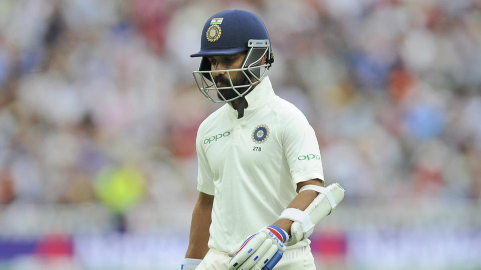 India's Ajinkya Rahane leaves the field after being dismissed during the third day of the first test cricket match between England and India. (AP)