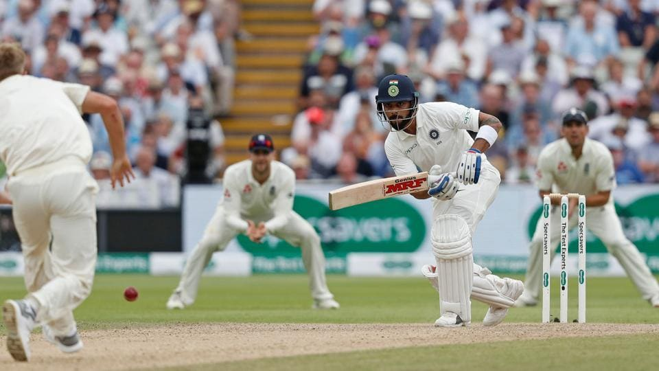 India's Virat Kohli (C) plays a shot during the third day of the first Test cricket match between England and India at Edgbaston in Birmingham, central England on August 3, 2018. (AFP)