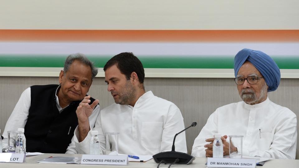Congress president Rahul Gandhi, former prime minister Manmohan Singh and party leader Ashok Gehlot at the Congress Working Committee (CWC) meeting, at AICC in New Delhi on August 4.