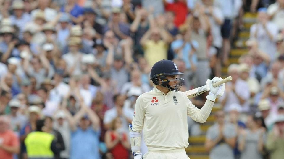 England's Sam Curran acknowledges the crowd after scoring fifty runs during the third day of the first test cricket match. (AP)