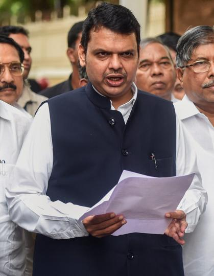 Maharashtra Chief Minister Devendra Fadnavis along with party leaders interact with the media after an all-party meeting to discuss the Maratha reservation issue, in Mumbai