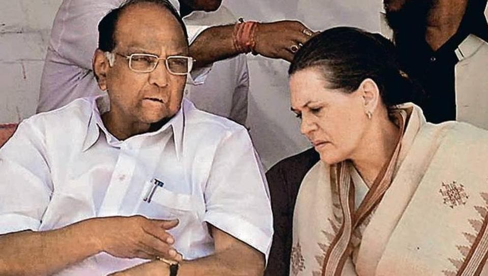 NCP chief Sharad Pawar (seen here with Sonia Gandhi) said the three leaders should provide a counter-narrative to the BJP.