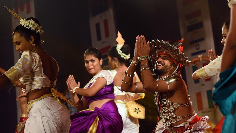 Students from Sri Lanka during a dance performance at Symbiosis Vishwabhavan, SB road, on Tuesday. Every year, on July 31, Symbiosis celebrates the Students Day where students from different countries showcase the cultural performances. (Pratham Gokhale/HT Photo)