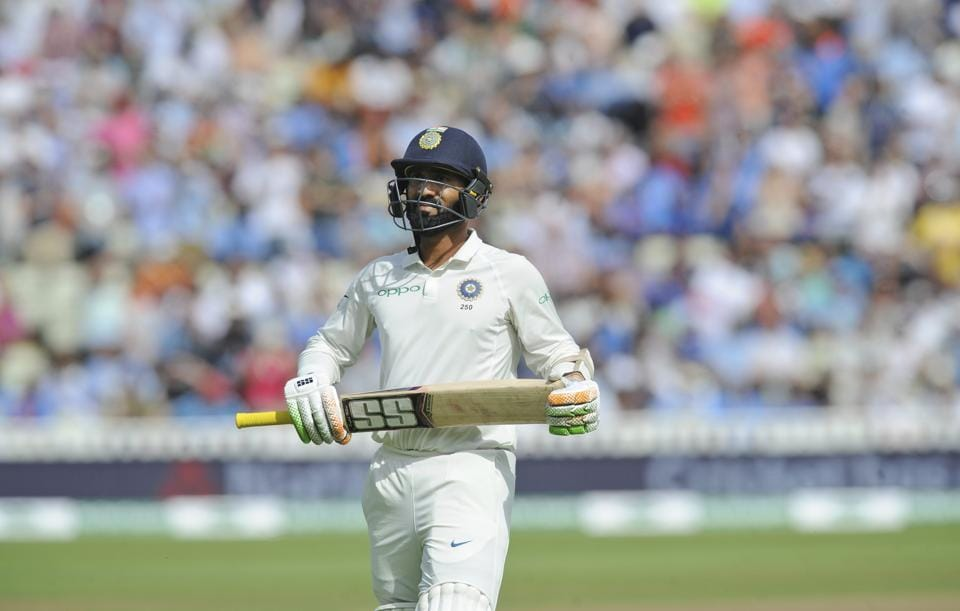India's Dinesh Karthik leaves the field after being dismissed during the fourth day of the first test cricket match between England and India. (AP)