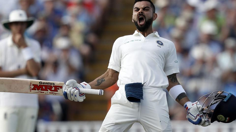 India's Captain Virat Kohli celebrates his century on the second day of the first Test cricket match between England and India at Edgbaston.