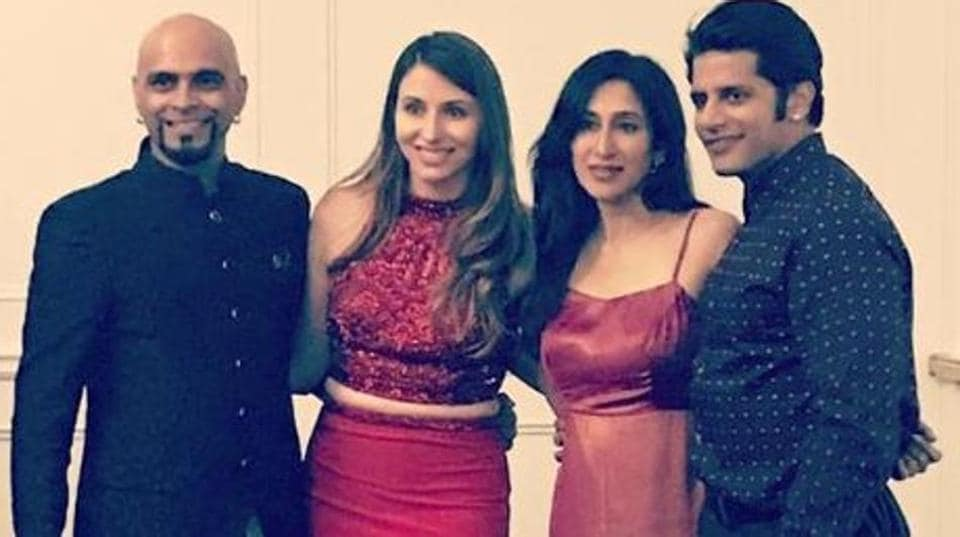 Raghu Ram with fiancee Natalie Di Luccio and actor Karanvir Bohra and his wife Teejay Sidhu.