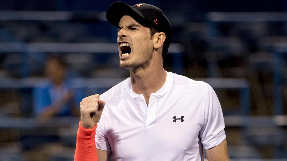 Andy Murray, of Britain, reacts after winning a point against Marius Copil, of Romania, during the Citi Open tennis tournament.