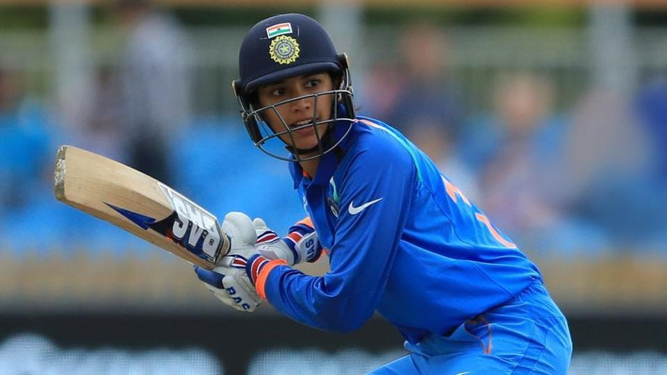 DERBY, ENGLAND - JUNE 24: Smriti Mandhana of India bats during the England v India group stage match at the ICC Women's World Cup 2017 at The 3aaa County Ground on June 24, 2017 in Derby, England.