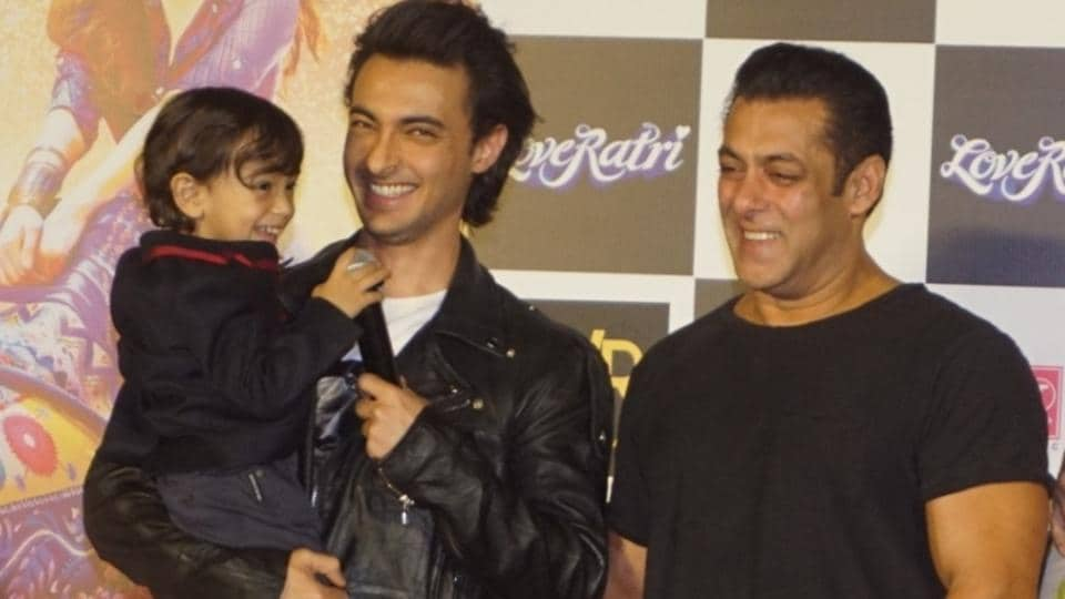 Actors Salman Khan and Aayush Sharma along with his son Ahil Sharma at the trailer launch of their upcoming film Loveratri.