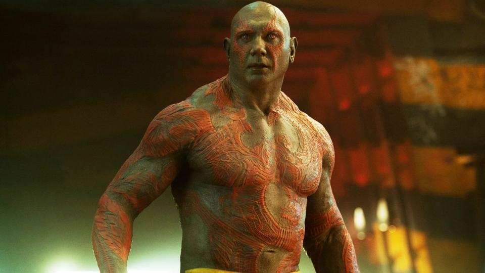 Dave Bautista as Drax the Destroyer in a still from Guardians of the Galaxy.