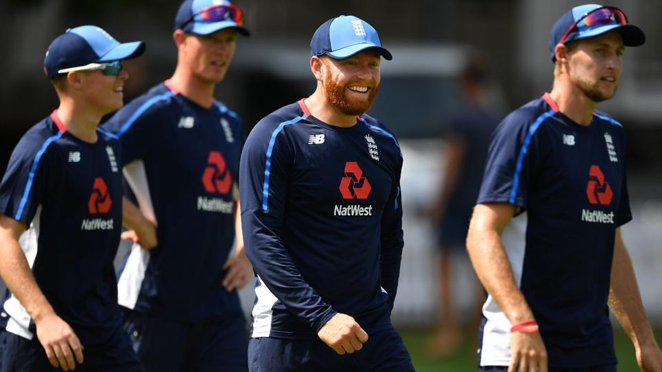 England's Ollie Pope (L), England's wicket keeper Jonny Bairstow (2R) and England's captain Joe Root (R) attends training session. (AFP)
