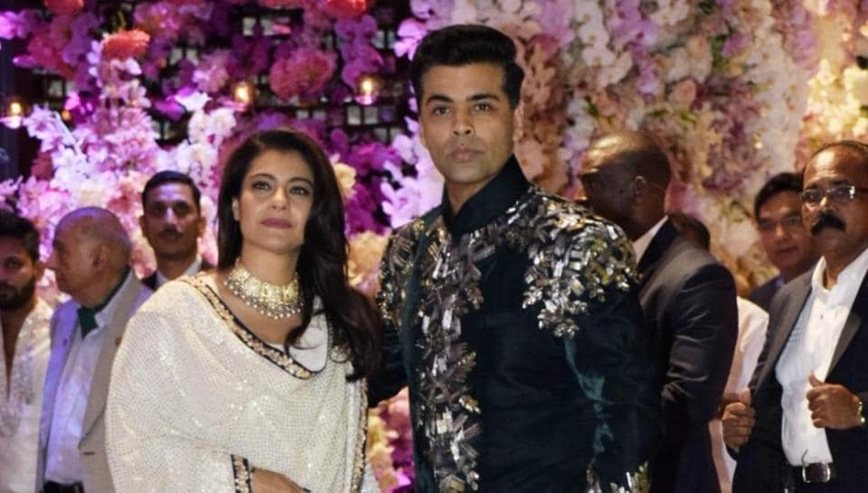 Kajol with filmmaker Karan Johar seen together at the engagement party of Reliance Industries' chairman Mukesh Ambani's son Akash Ambani and diamantaire Russell Mehta's daughter Shloka Mehta, at Antilia in Mumbai on June 30, 2018.