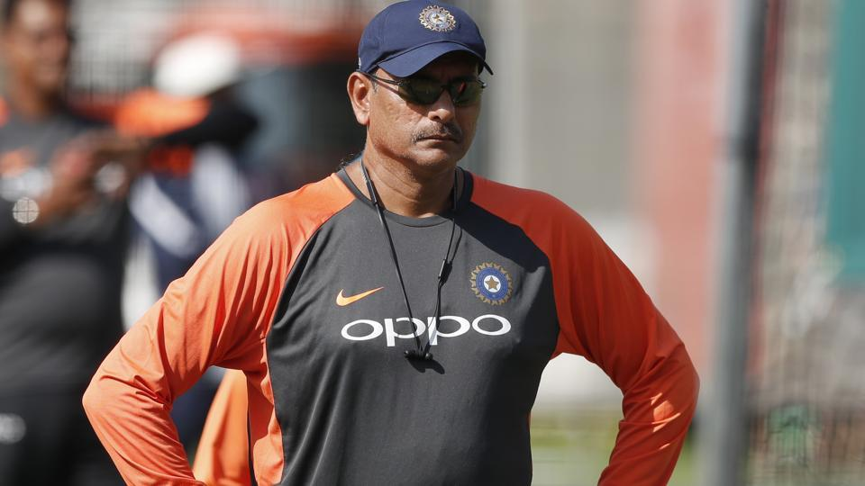 India's head coach Ravi Shastri watches the players in the nets during a training session at Lord's. (AP)