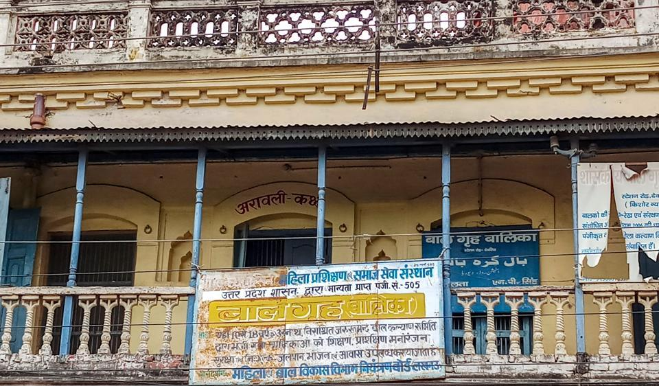 A view of the shelter home from where 24 girls were rescued after allegation of sexual exploitation of the inmates came to light, prompting the Uttar Pradesh government to order a probe on August 6