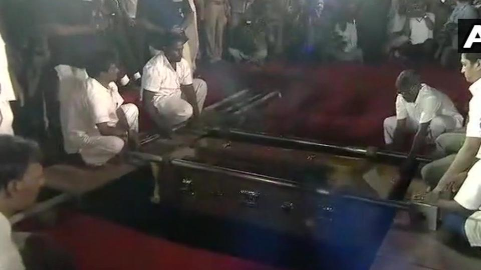 M Karunanidhi being laid to rest at Marina beach, next to Anna memorial in Chennai.