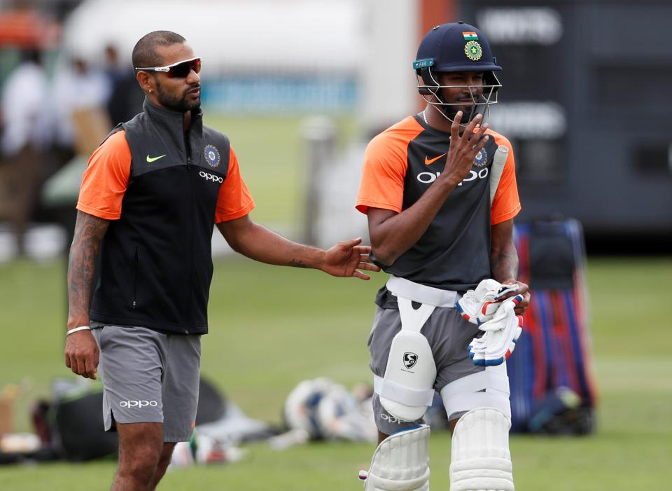 Hardik Pandya and Shikhar Dhawan take part in the practice session (Action Images via Reuters)