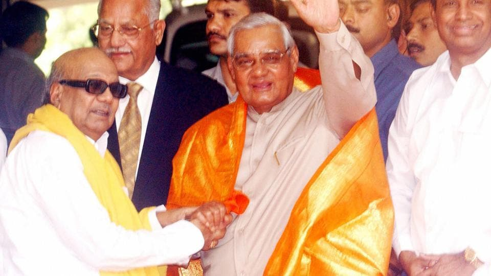 Karunanidhi pulled out his two ministers out of the Vajpayee government in December 2003.