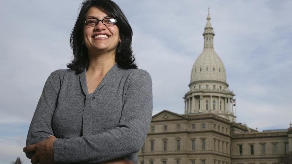 Rashida Tlaib, a Democrat, is photographed outside the Michigan Capitol in Lansing, Michigan.