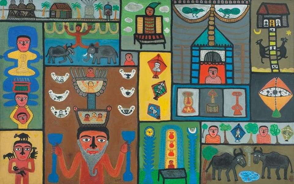 World of Magician, acrylic on canvas, 2004. Parekh's work draws from folk art while retaining a distinctive style.