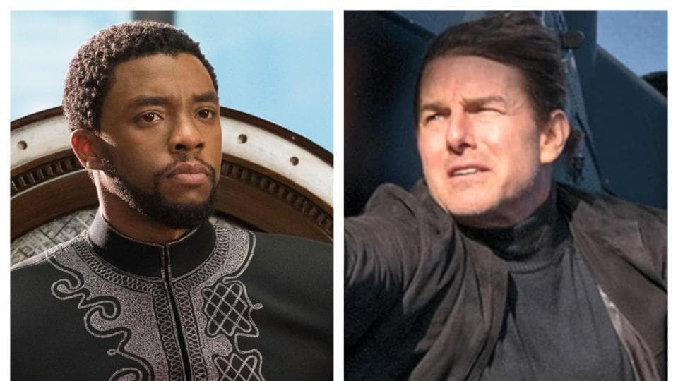 Chadwick Boseman in a still from Black Panther and Tom Cruise as Ethan Hunt in Mission: Impossible - Fallout.