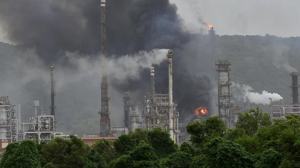 Smoke billows from the BPCL refinery in Mumbai.