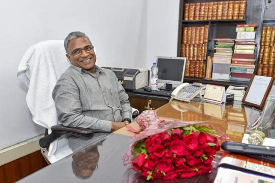 Deputy chairperson of the Rajya Sabha Harivansh is seen after taking charge in this file photo.