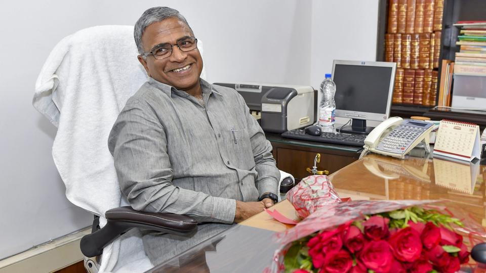 Newly-elected deputy chairman of Rajya Sabha Harivansh Narayan Singh takes charge at his office at Parliament.