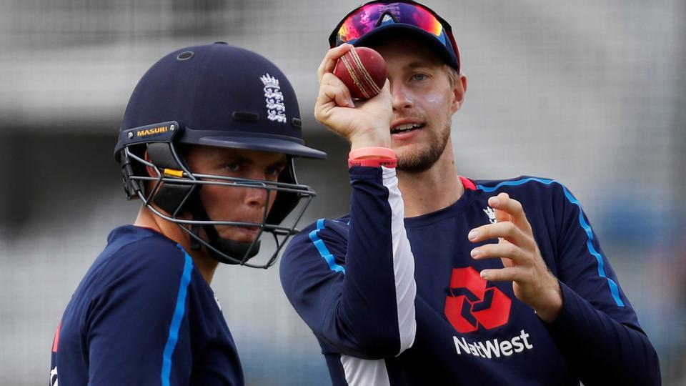 England's Joe Root and Sam Curran during nets ahead of the second Test against India at Lord's.