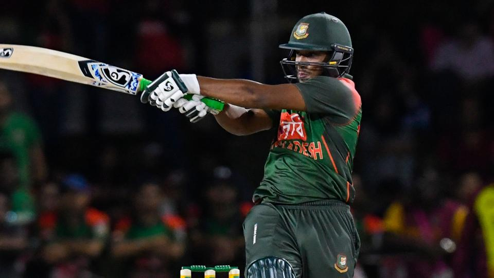Shakib Al Hasan of Bangladesh hits 4 during the 2nd T20i match between West Indies and Bangladesh at Central Broward Regional Park Stadium in Fort Lauderdale.