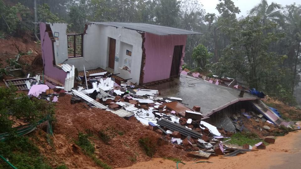 A house destroyed by heavy rains and landslide in Kerala's Kannur district on Thursday.