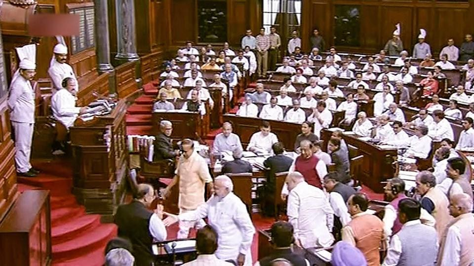A view of the Rajya Sabha during the Monsoon session of Parliament, in New Delhi on Thursday.