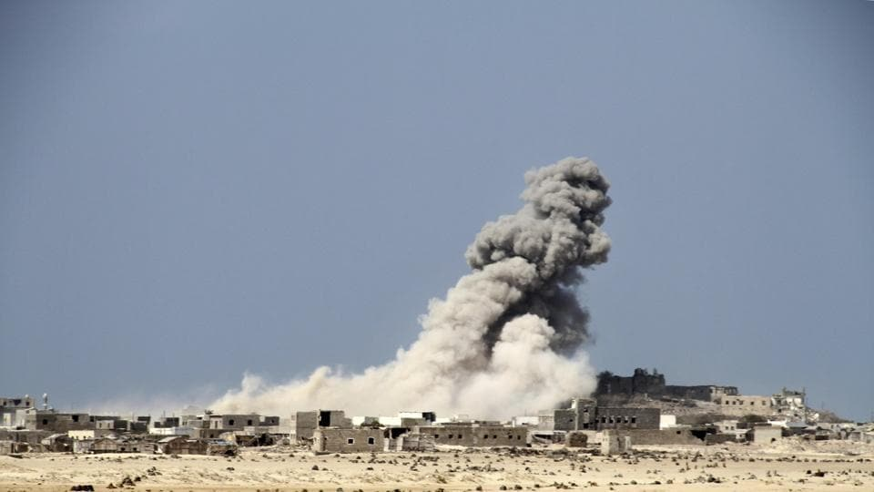An explosion raises a cloud as coalition-backed fighters advance on Mocha. Overall, deals that took place during both the Obama and Trump administrations have secured al-Qaida withdrawal from multiple major towns and cities that the group seized in 2015. The earliest pact, in the spring of 2016, allowed thousands of al-Qaida fighters to pull out of Mukalla, Yemen's fifth-largest city and a major port. (AP)