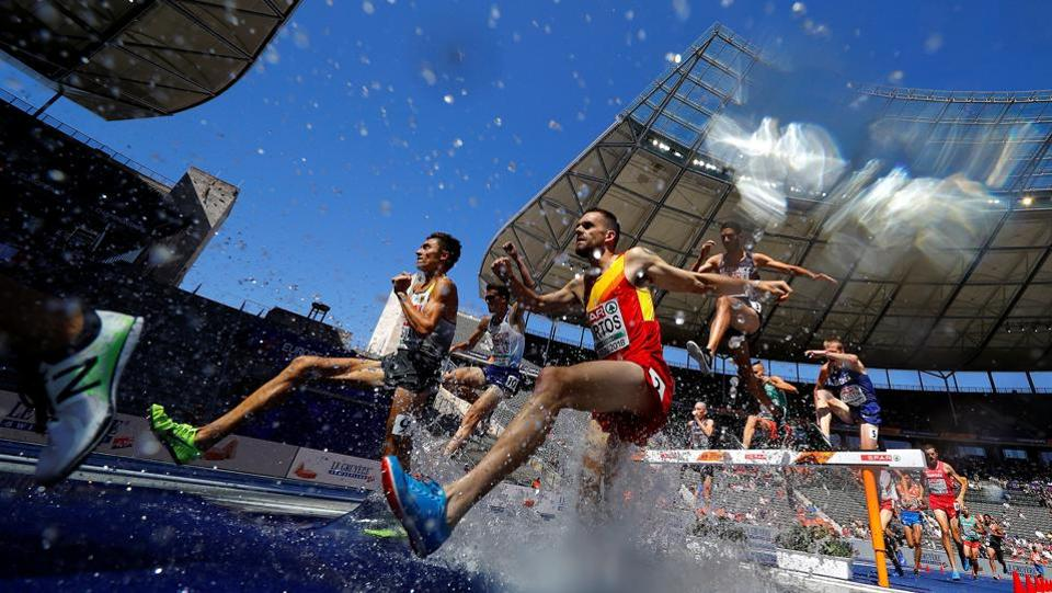 Sebastian Martos of Spain competes in the Men's 3000m Steeplechase Qualifications during the 2018 European Championships at the Olympic Stadium in Berlin, Germany. (Kai Pfaffenbach / REUTERS)