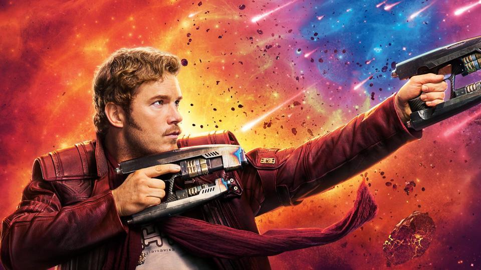 Chris Pratt as Star Lord in a still from Guardians of the Galaxy.
