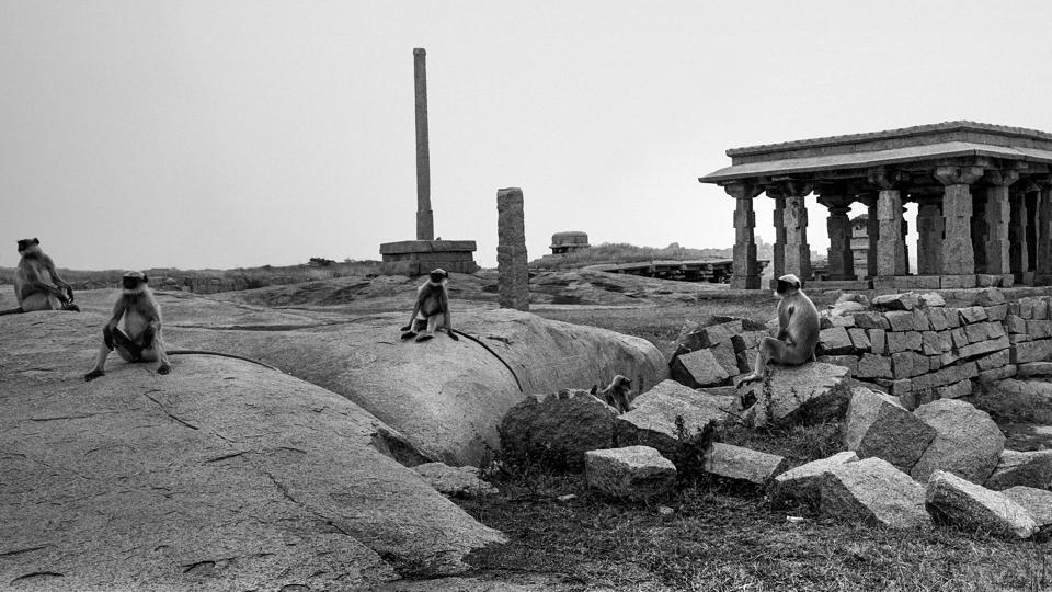 A view of Hampi's ruins, photographed by Rajib De. The exhibition, 'A Tale of Two Cities: Hampi and Newtown' is a visual study of urban memory and is on view at the India International Centre in New Delhi on August 10. (Rajib De)