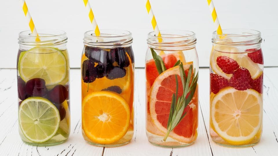 Flavoured water is always a better and healthier option than gulping down cold drinks and sodas all day long. At the same time they're more interesting than just plain old water. Infused with fruits, vegetables or herbs, these are some colourful and tasty liquid recipes to try.  (shutterstock)