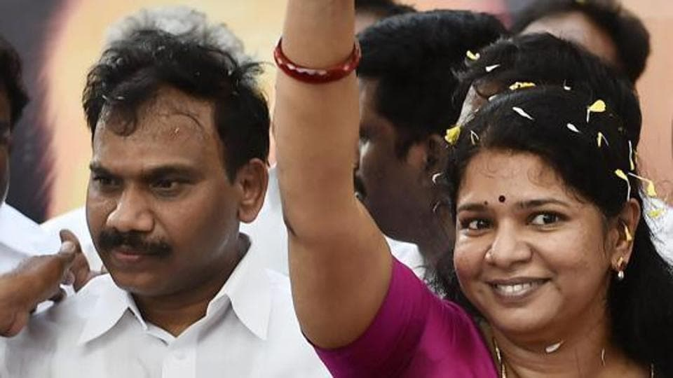 DMK leader and Former Union Minister A Raja and his party colleague and Rajya Sabha MP Kanimozhi.