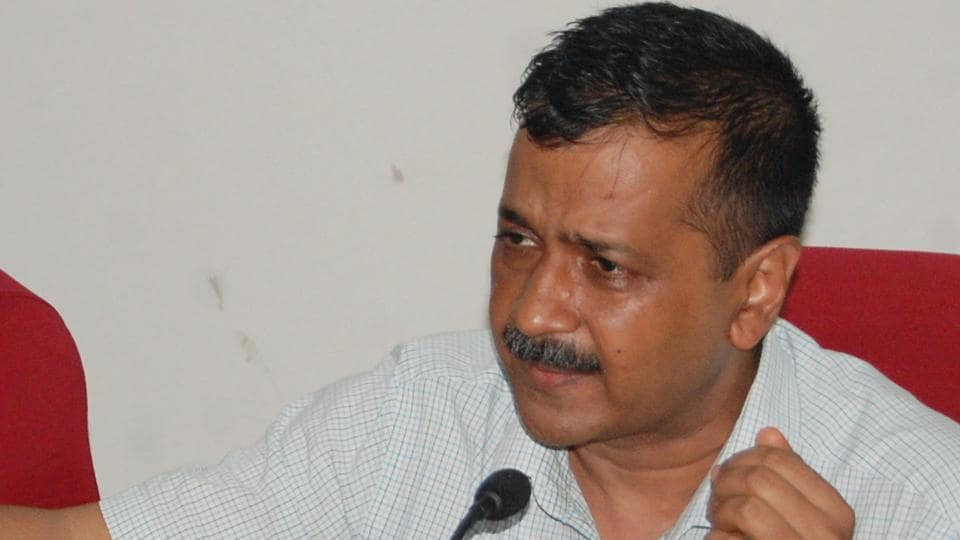 Delhi Chief Minister Arvind Kejriwal addressing press conference  in Rohtak, Haryana, on Thursday. August 7, 2018.