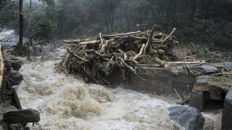 Water gushes out following heavy rain and landslide disrupting connectivity in Kozhikode, Kerala . (AP)