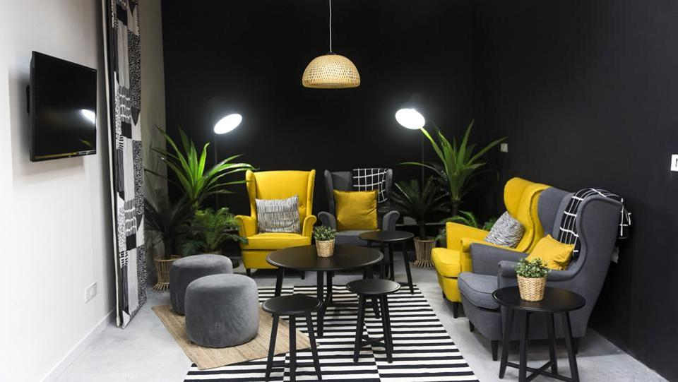 A living room displayed inside the Ikea retail store in Hitech City on the outskirts of Hyderabad. (Udit Kulshrestha / Bloomberg)