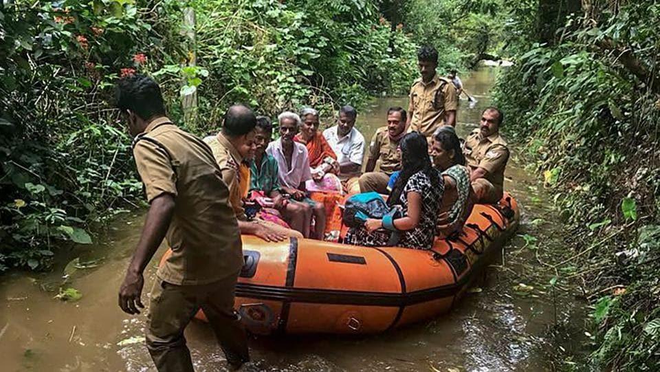 People being taken to safer places following a landslide in Idukki, Kerala. (PTI)