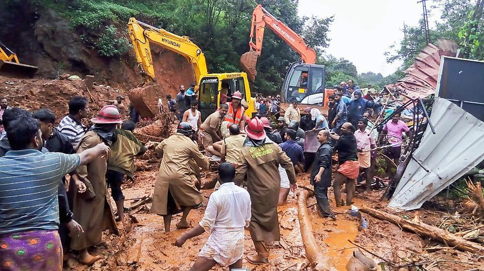 Rescue operations being carried out following a landslide, triggered by heavy rains at Adimali, in Idukki (PTI)