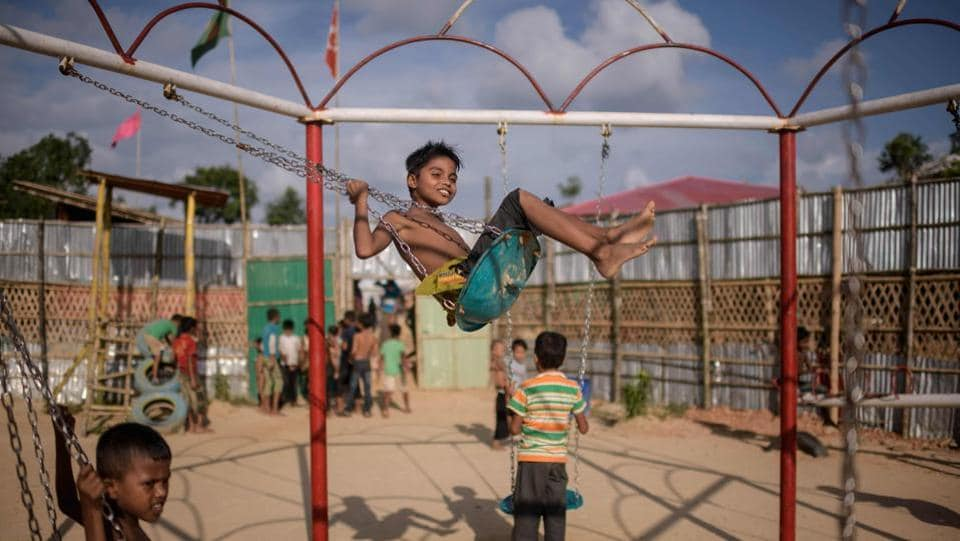 Rohingya refugee children play in a playground in the Thangkhali refugee camp near Cox's Bazar, Bangladesh. (Ed Jones / AFP)