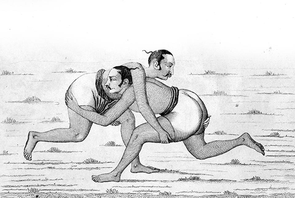 Wrestlers, India, engraving by Lemaitre after a manuscript from Inde, by Dubois De Jancigny and Xavier Raymond, L'Univers pittoresque, published by Firmin Didot Freres, Paris, 1845.