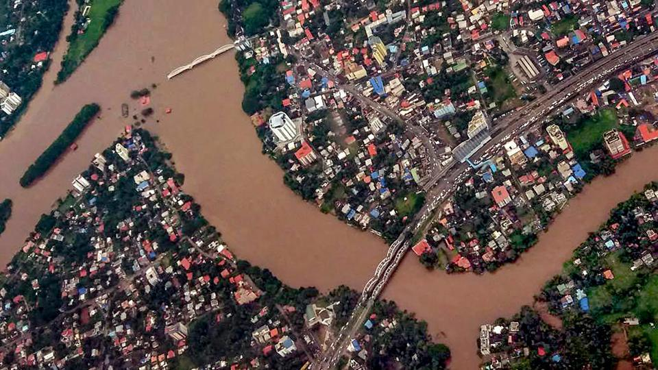 An aerial view of the floods in Aluva after heavy rains, in Kerala.