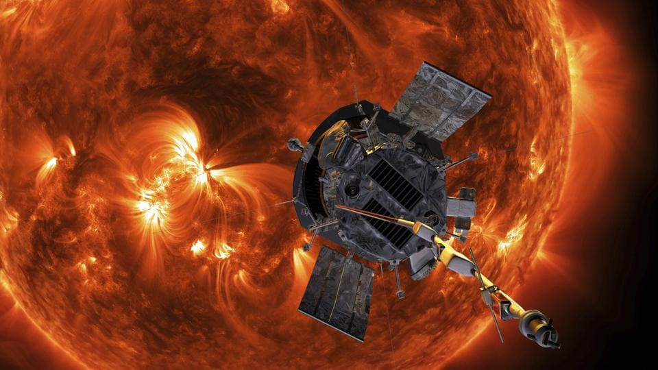 This image made available by NASA shows an artist's rendering of the Parker Solar Probe approaching the Sun. It's designed to take solar punishment like never before, thanks to its revolutionary heat shield that's capable of withstanding 2,500 degrees Fahrenheit (1,370 degrees Celsius).